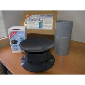Filtre anti-odeur pour fosse - septofiltre kit f + cartouche + extracteur statique Nicoll