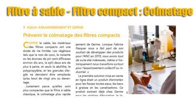 Filtre à sable - Filtre compact : Colmatage