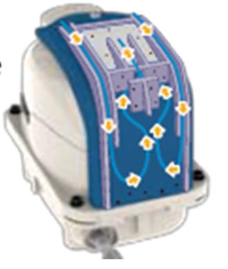 HIBLOW-XP60-XP80 Un nouveau Système de Filtre d'aspiration combinant un ensemble de chicanes permet aux plus grosses particules de tomber par gravité avant de parvenir au Filtre déjà utilisé sur les HP,  ce qui réduit l'encrassement du filtre et donc la fréquence de changement du filtre mais aussi le Bruit de l'aspiration.