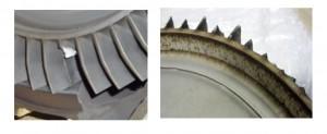 Ici à gauche un corps étranger a cassé une ailette, ce qui entraine fréquemment la destruction des autres ailettes (comme ci à droite).