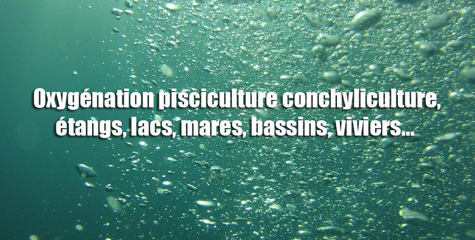 Oxygénation pisciculture conchyliculture, étangs, lacs, mares, bassins, viviers...