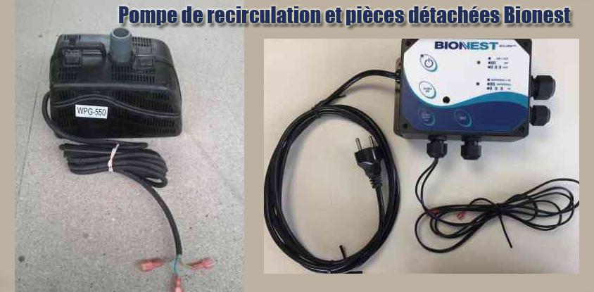Pompe recirculation pièces détachées Bionest