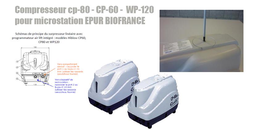 Compresseur cp-80 - CP-60 - WP-120 pour microstation EPUR BIOFRANCE