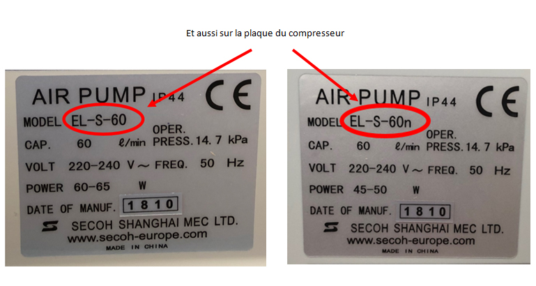 différence compresseur secoh, compresseur EL-S-60, compresseur EL-S-60-N