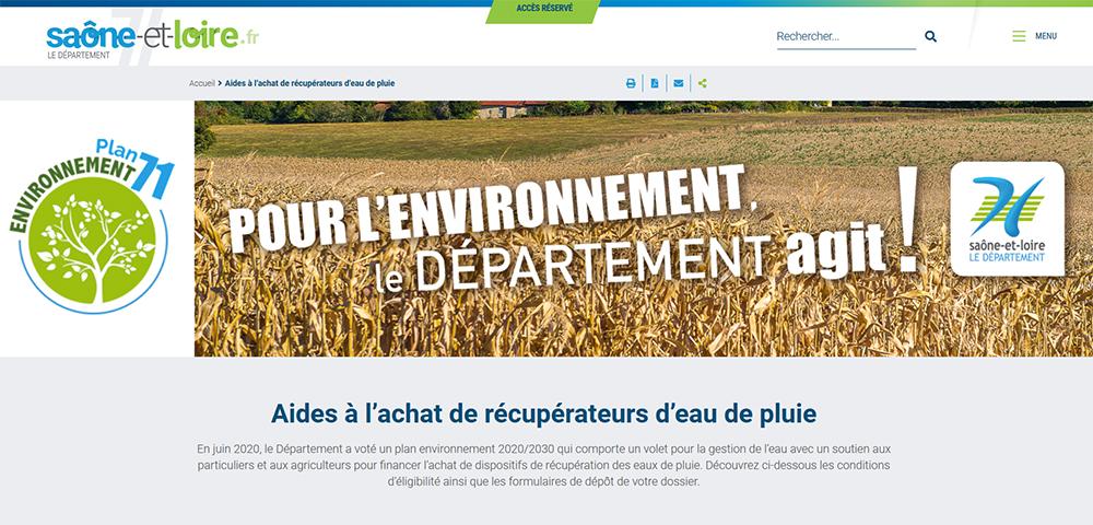 Aide départementale eau pluie. Aide départementale en Saône et Loire 71 pour l'achat d'un récupérateur eau de pluie