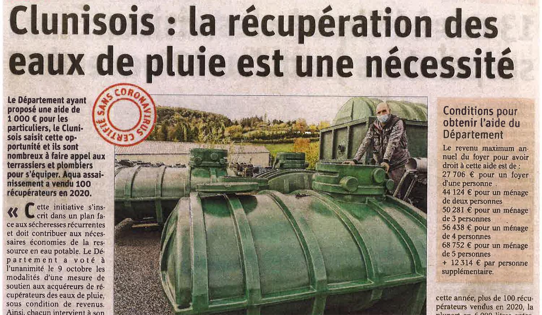 Clunisois : La récupération des eaux de pluie est une nécessité. Clunisois récupération eaux pluie